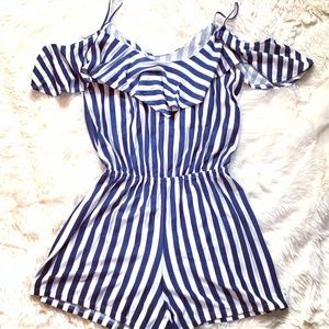 Pants - Blue and white Romper